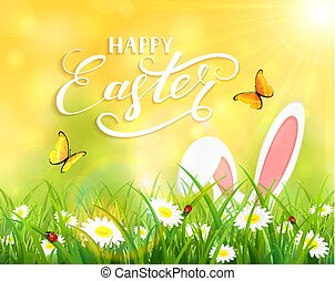 Yellow background with Easter bunny in grass