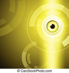 Yellow background with eye