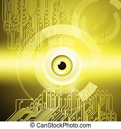 Yellow background with eye and circuit