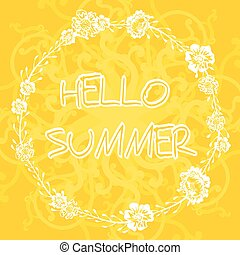 Yellow background with frame with text hello summer.