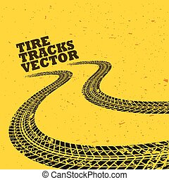 yellow background with grunge tire tracks