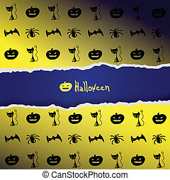 Yellow background with pattern of Halloween characters