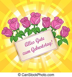 yellow background with roses - Alles gute zum Geburtstag -...