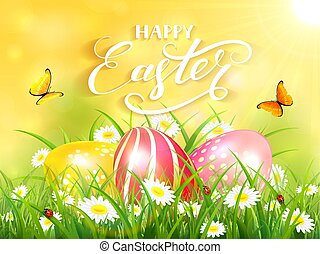 Yellow background with three Easter eggs in grass