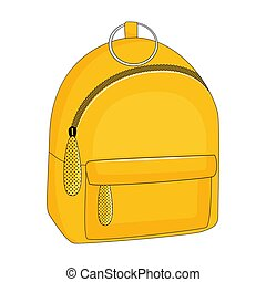 Yellow backpack isolated on white background. Vector illustration.