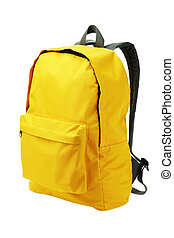 Yellow Backpack Standing on White Background
