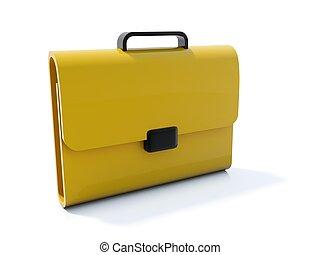 Yellow bag icon isolated on white