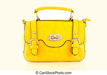 Yellow bag isolate on white background