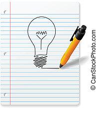 Yellow ball point pen drawing bright idea light bulb - A ...