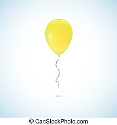 Yellow balloon isolated on white background