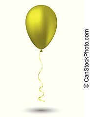 Yellow balloon on white background