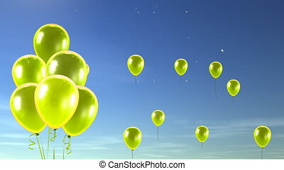yellow balloons up to sky