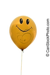 Yellow baloon - A yellow baloon with a happy smiling face on...
