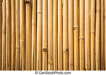 Yellow bamboo fence texture