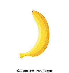 Yellow banana close up. Vector illustration on white background.