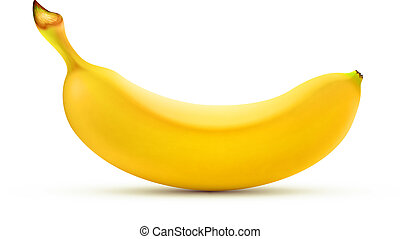 yellow banana - Vector illustration of detailed shiny yellow...