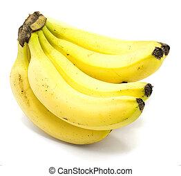 Yellow banana isolated on white