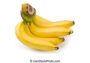 Yellow bananas isolated on a white background
