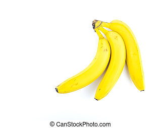Yellow bananas on a white background.