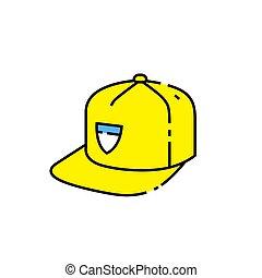 Yellow baseball cap line icon