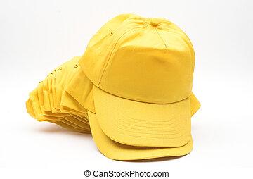 Yellow baseball caps