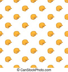 Yellow baseball helmet pattern, cartoon style