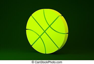 Yellow Basketball ball icon isolated on green background. Sport symbol. Minimalism concept. 3d illustration 3D render