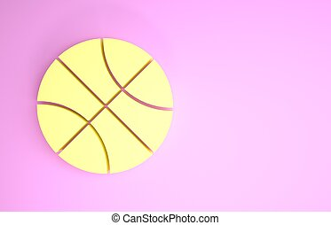 Yellow Basketball ball icon isolated on pink background. Sport symbol. Minimalism concept. 3d illustration 3D render