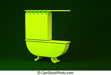 Yellow Bathtub with open shower curtain icon isolated on green background. Minimalism concept. 3d illustration 3D render
