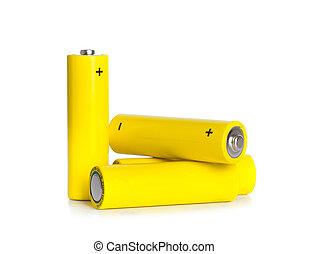 Yellow Battery cell - Battery cell AA isolated on white...