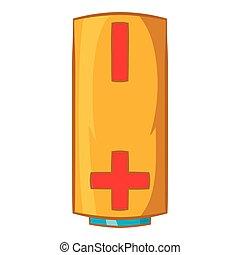 Yellow battery icon, cartoon style