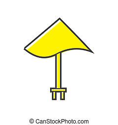 Yellow beach umbrella icon, flat style
