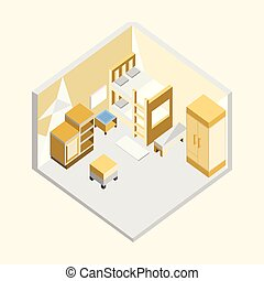 Yellow Bedroom Isometric Home Interior Illustration Design
