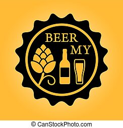 beer icon with hop glass and bottle