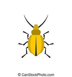 Yellow beetle icon, flat style