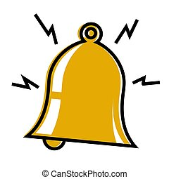 Yellow bell on a white background. Vector.