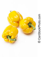 Yellow bell pepper group on background