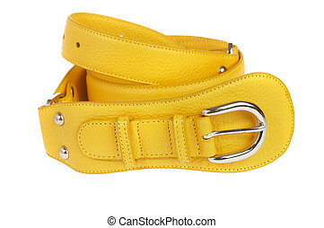Yellow belt on a white background