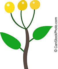 yellow berry illustration on white