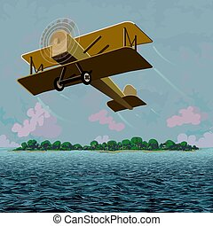 Yellow bi-plane flying over the sea with an island and cloud filled sky behind it as a backdrop