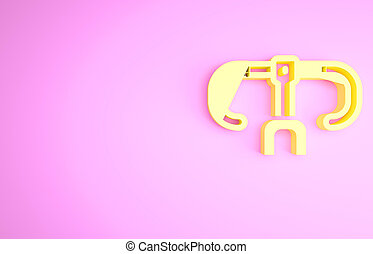 Yellow Bicycle handlebar icon isolated on pink background. Minimalism concept. 3d illustration 3D render.