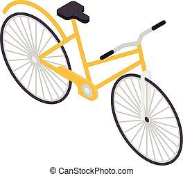 Yellow bicycle icon, isometric style