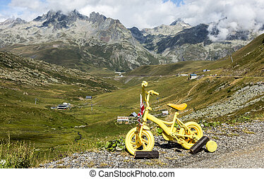 Yellow Bicycle in Mountains