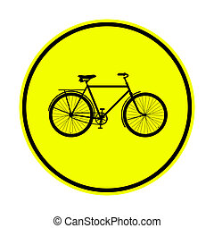 yellow bicycle sign