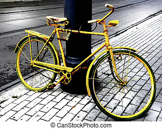 Yellow bicycle - Single, yellow bicycle stand in the ...
