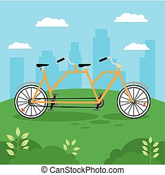 yellow bicycle tandem vehicle
