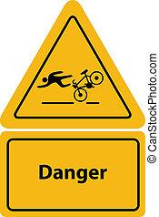 yellow bicycle warning sign