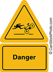 yellow bicycle warning signs