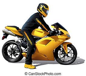 Yellow Bike And Biker - Detailed Illustration, Vector