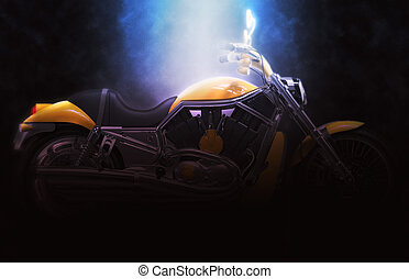 Yellow bike - dark soft lighting